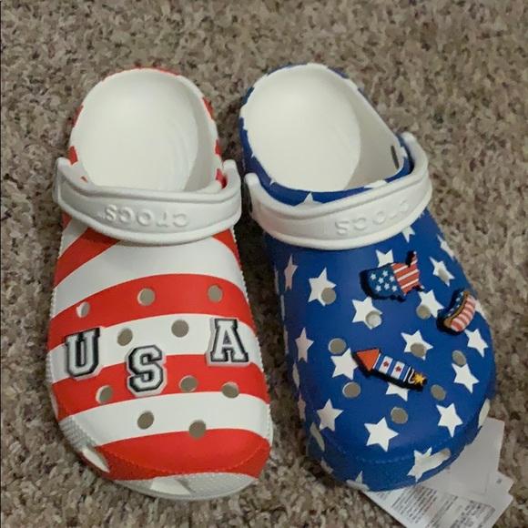 kids american flag crocs